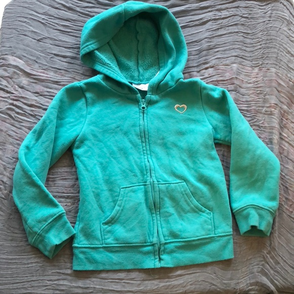 Jumping Beans Girls Size 12 or 24 months Turquoise Blue Green Hoodie New